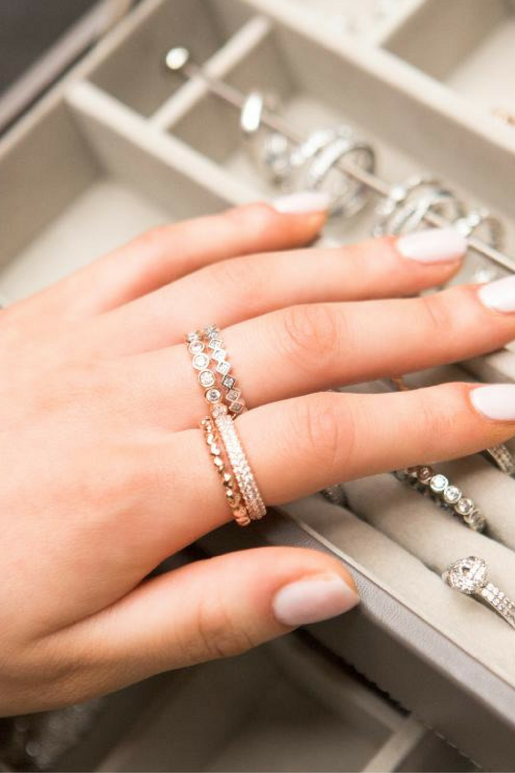 81ff7f809cc60 Combine your favorite rings for an elegant stack. #PANDORATexas ...