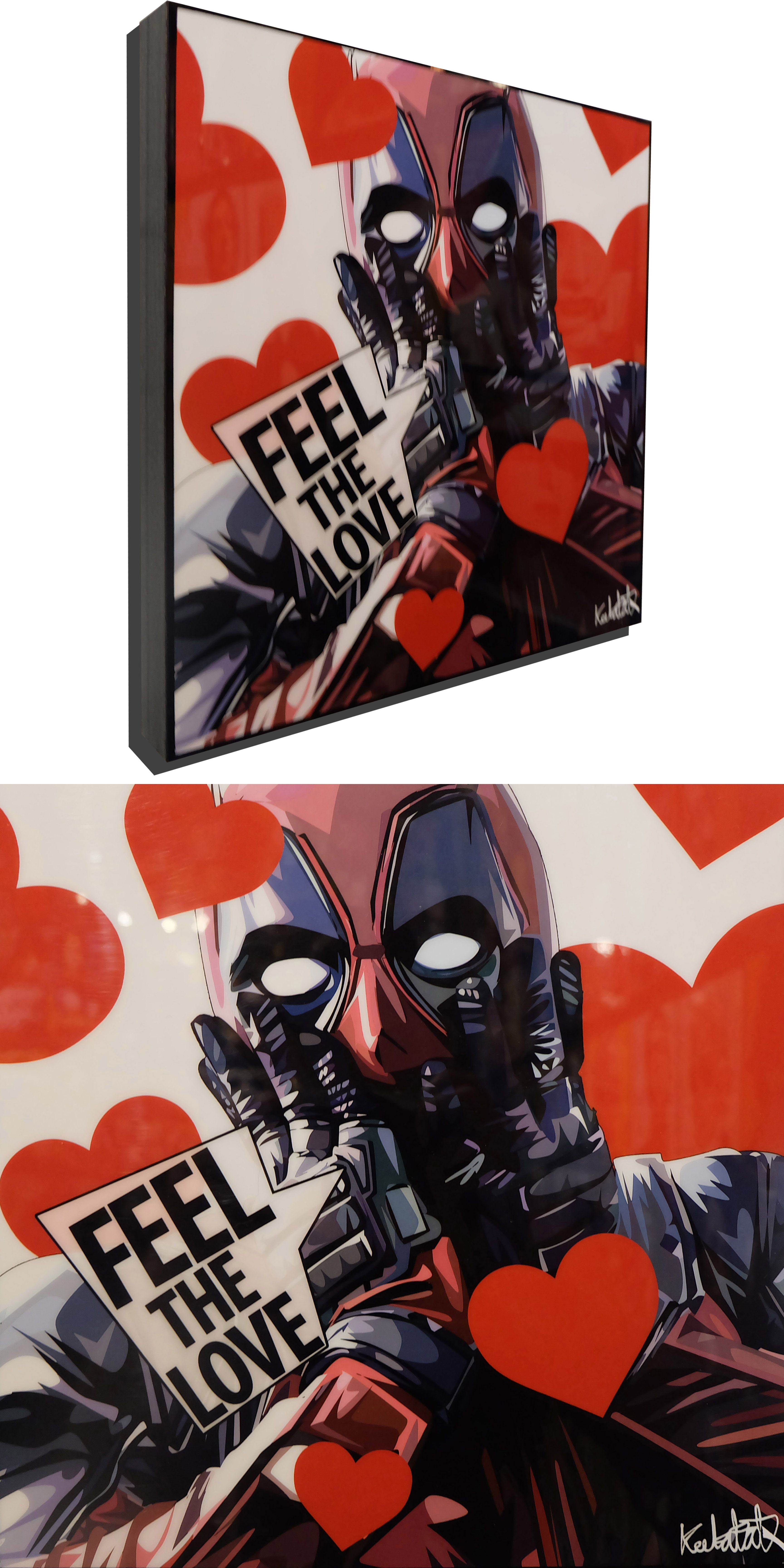 Deadpool Valentines Day Poster Plaque With Quote Feel The Love