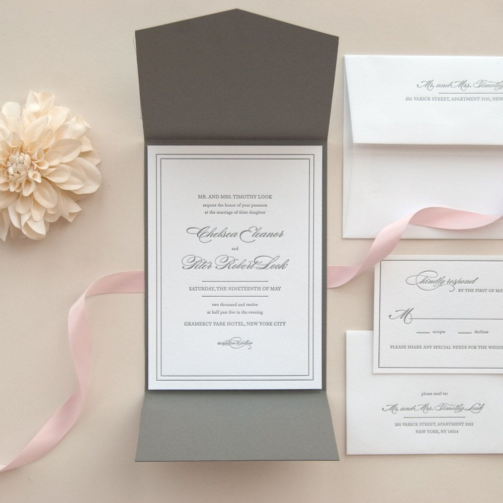 Free Wedding Ideas: Black And White Letterpress Pocket Fold Wedding Invitation