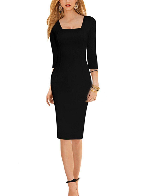 Sparkling YXB Damen Elegantes Etuikleid 11/11-Arm Knielang Business