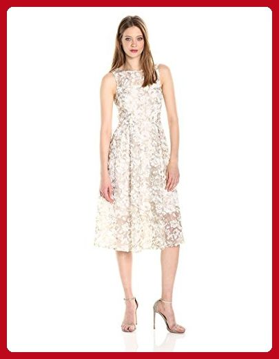 Adrianna Papell Women's 3d Lace Midi Fit and Flare, Ivory/Gold, 8 - All about women (*Amazon Partner-Link)