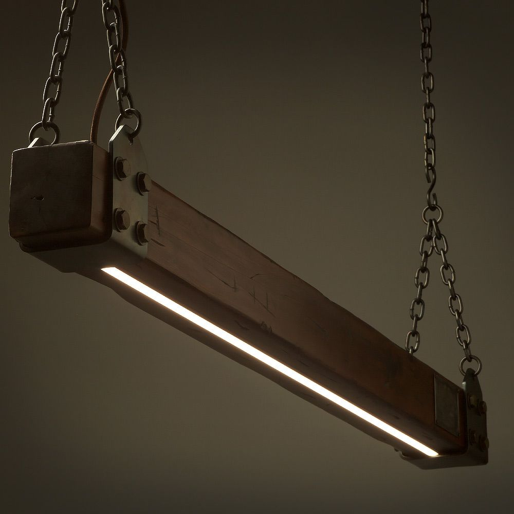 Wood Beam LED Pendant Light No.3 | Remote Control Dimmer