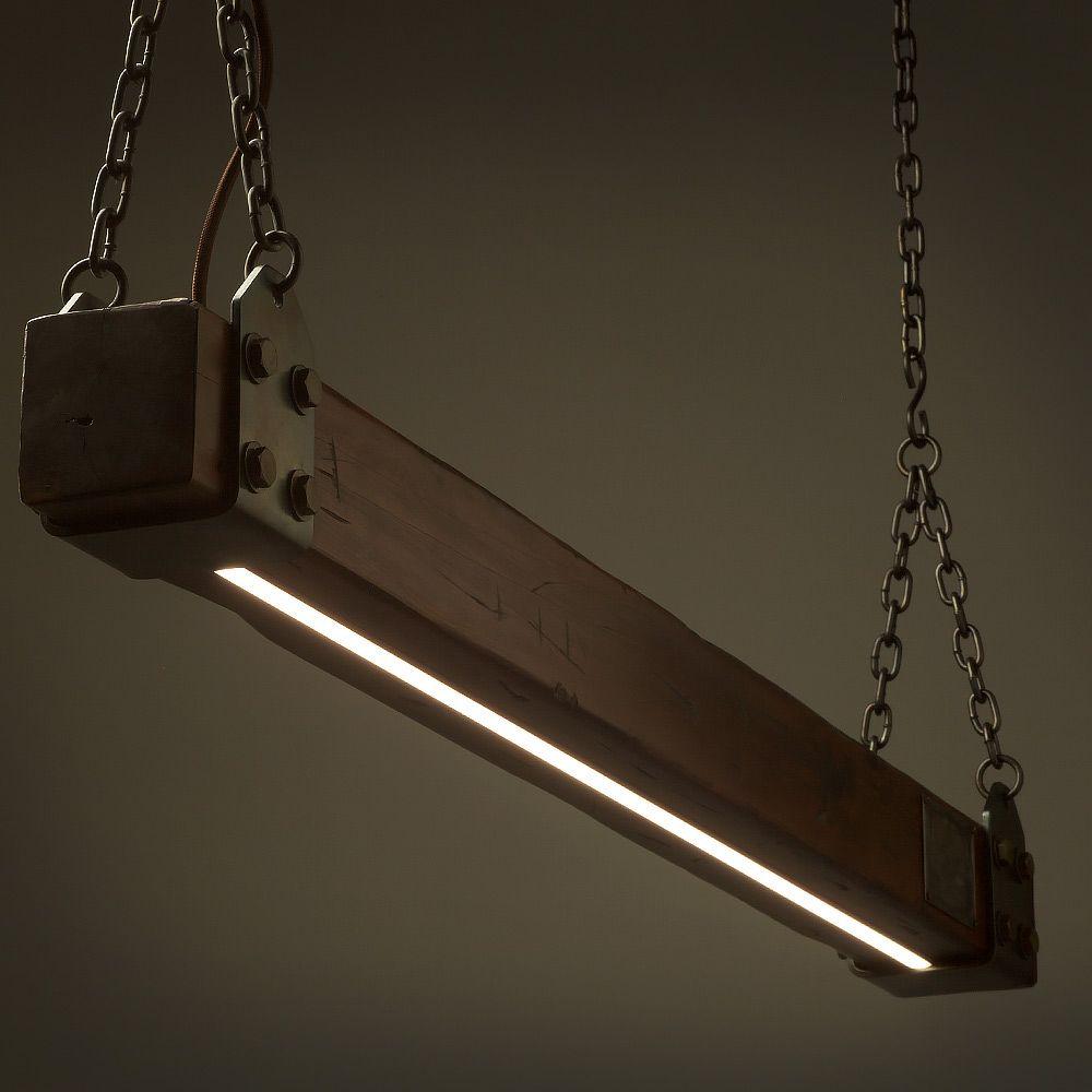 Garage Door Beam Lights: Wood Timber Lumber Beam LED Pendant Light No.1 Wooden