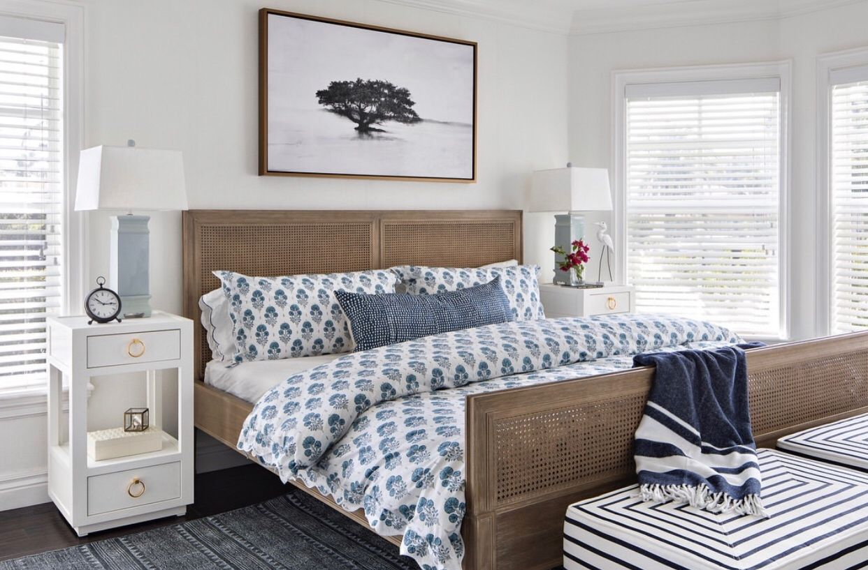 A Blue And White Dream Featuring Our Camilla Side Table Coastal Bedrooms Coastal Bedroom Coastal Room
