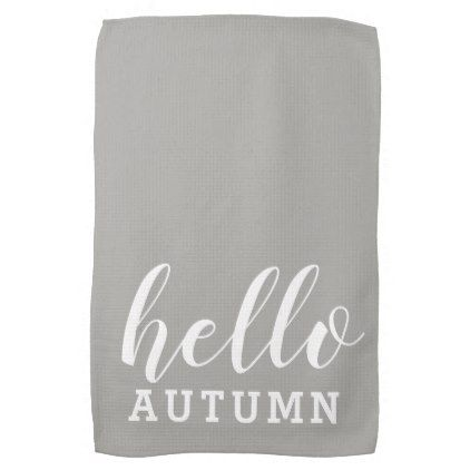 Hello Autumn Minimalist Modern Gray White Hand Towel | Zazzle.com #helloautumn