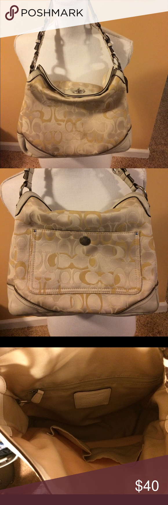 fe24a5cda2 Coach purse Cream coach purse. In good condition, some wear and tear and a  small pen mark on front of bag. Smoke and pet free home. Coach Bags
