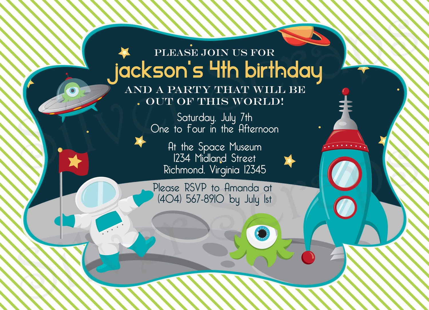 Outer space custom digital birthday party invitation for Space themed stationery