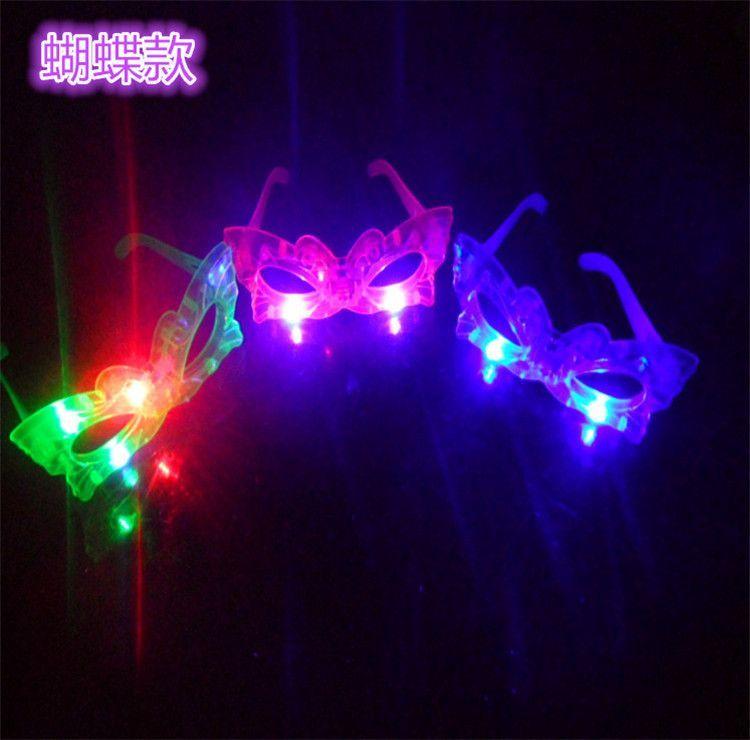 12pcs/lot LED Butterfly Glasses Laser Flashing Glasses Light Party