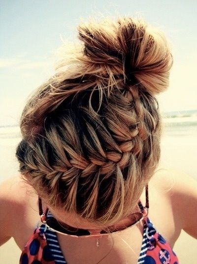 french braid into a messy bun! Love this!