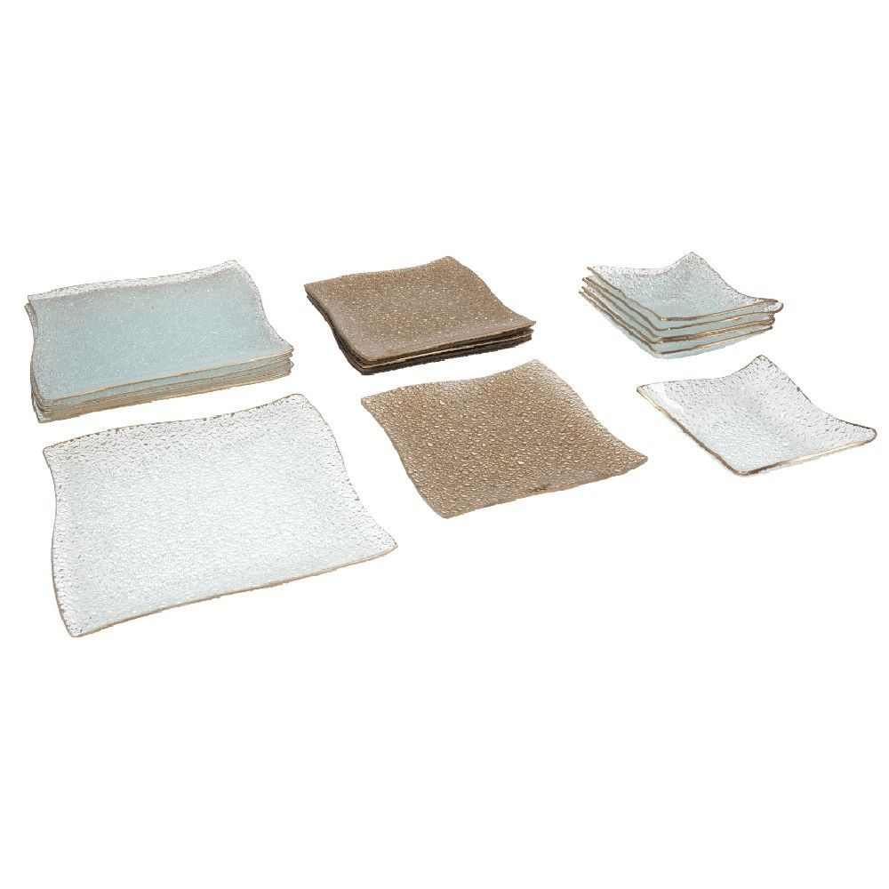 Service Vaisselle Dore Transparent 18 Pieces Service Vaisselle Vaisselle Assiette Vaisselle