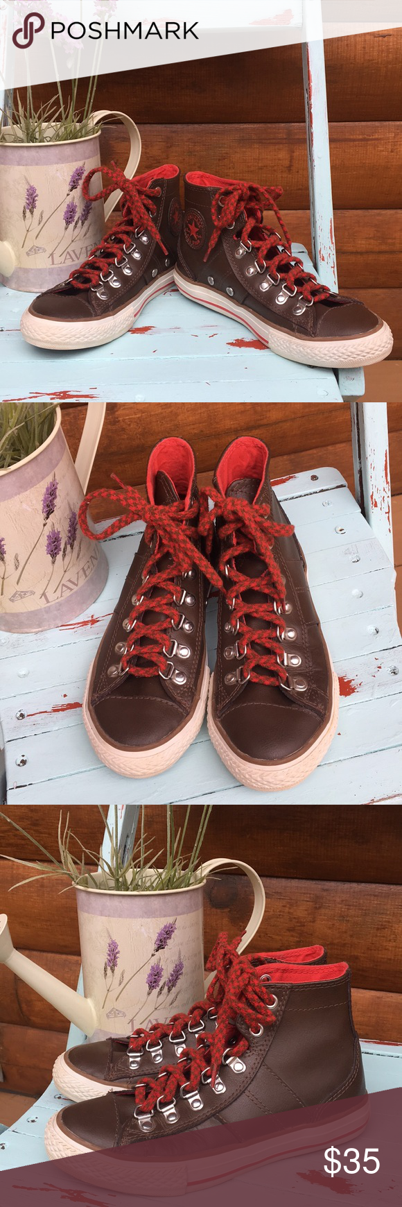 a38e7158035ef9 KIDS Leather Converse Red and brown hi-top All Stars in excellent used  condition.