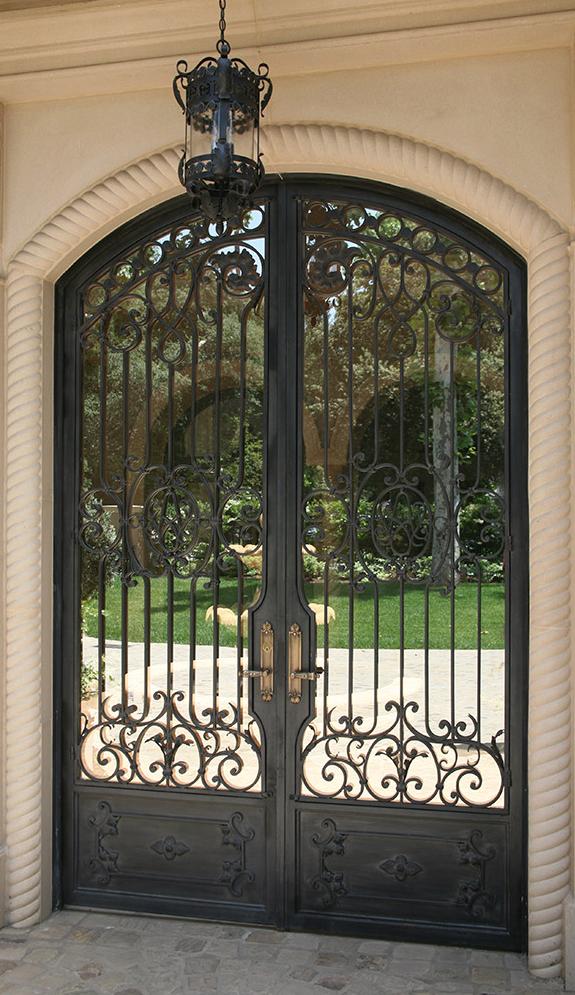 Gorgeous Mirrored Iron Door Old World Mediterranean