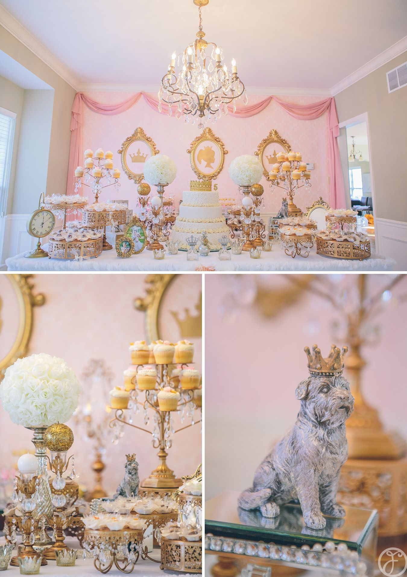 princess themed birthday party - dessert and cake table ...