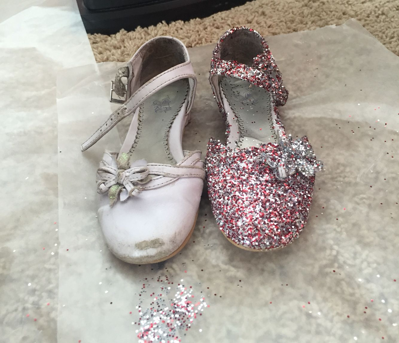 39a17d5f00e29 Worn out shoe throw some glitter on it : ) mommys princess loves it ...