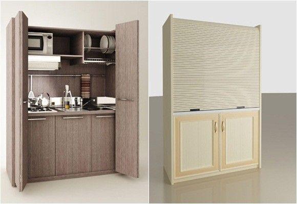 Cocinas que desaparecen decoracion pinterest minis for Muebles de cocina para espacios pequenos