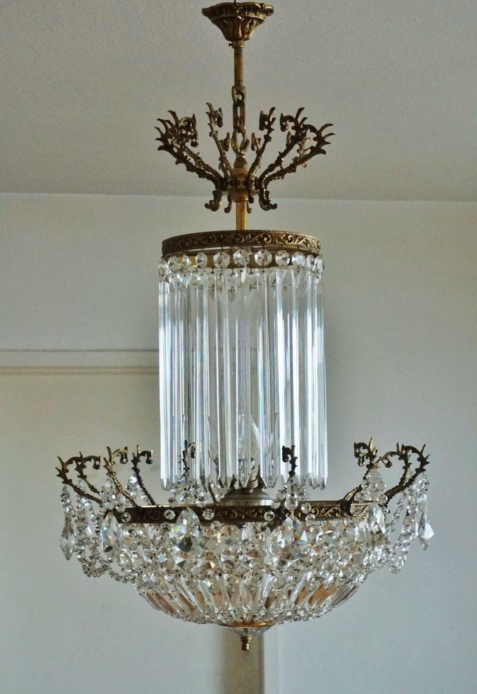 Antik Kristall Kronleuchter Lüster Deckenlampe Jugendstil Chandelier  1890 1900