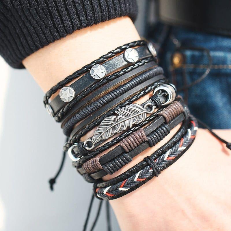 Men Leather Handmade Bracelet Magnetic-Clasp Braided Multi-Layer Wrap Men Brown