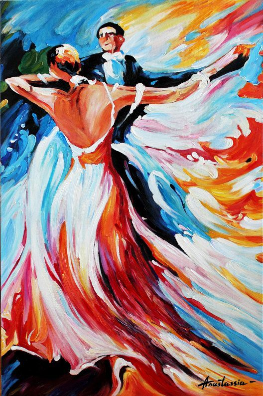 Dancers Abstract Oil Painting Gallery Wrap Canvas ...