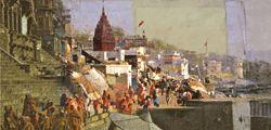 Kleinformat Gemälde: Indien benares