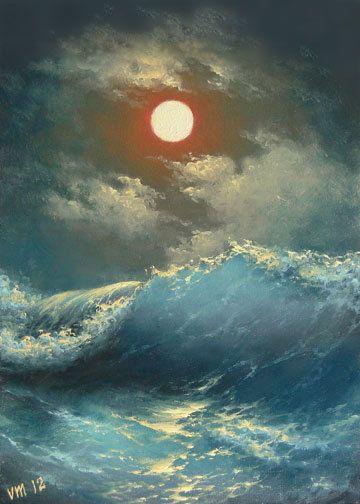 "272-11/""x 14/"" GALLERY WRAP CANVAS ART PRINT SEASCAPE Stormy Sea Full Moon  Night"