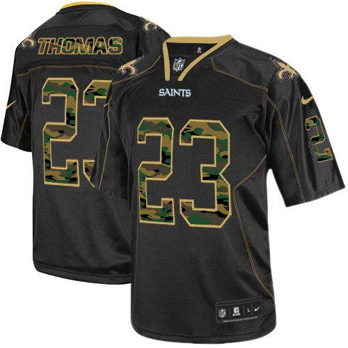 Men s Nike New Orleans Saints  23 Pierre Thomas Elite Black Camo Fashion NFL  Jersey e86d8b16e69