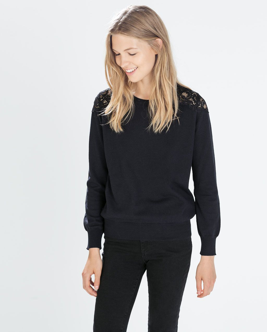 SWEATER WITH LACE SHOULDERS from Zara