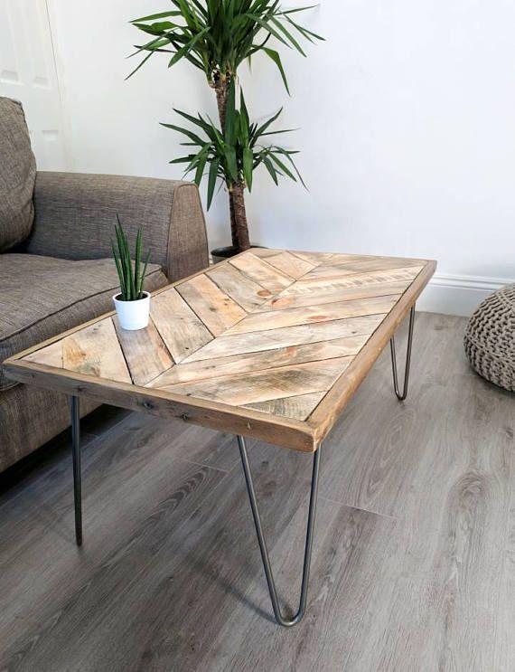 Chevron Coffee Table Kalasaba In Natural Finish With Hairpin Legs Reclaimed Wood Modern Boho Herringbone Design Chevron Coffee Tables Coffee Table Coffee Table Wood