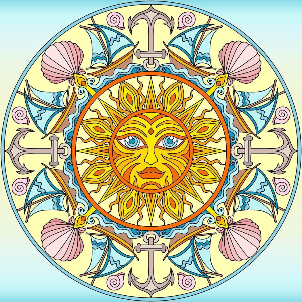 Summer mandala   Mandala art, Coloring books, Mandala