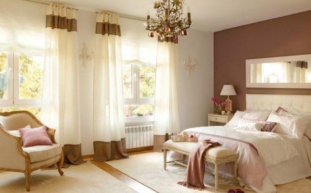 Farbgestaltung Schlafzimmer Wandfarbe Braun Weiß Farbdekoration  Wandgestaltung Idea