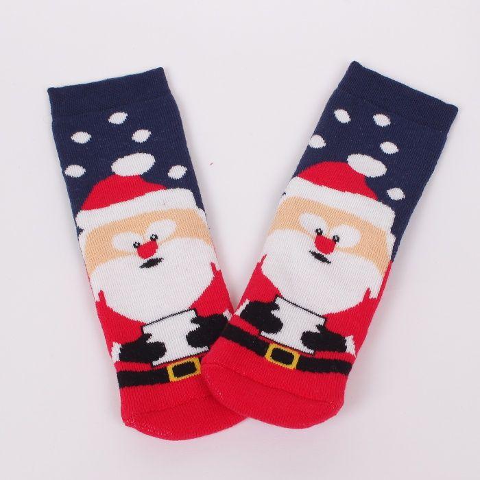 7222d74c603 Детски топли термо чорапи в тъмносиньо. На чорапите има сладък Дядо Коледа  и бели точки