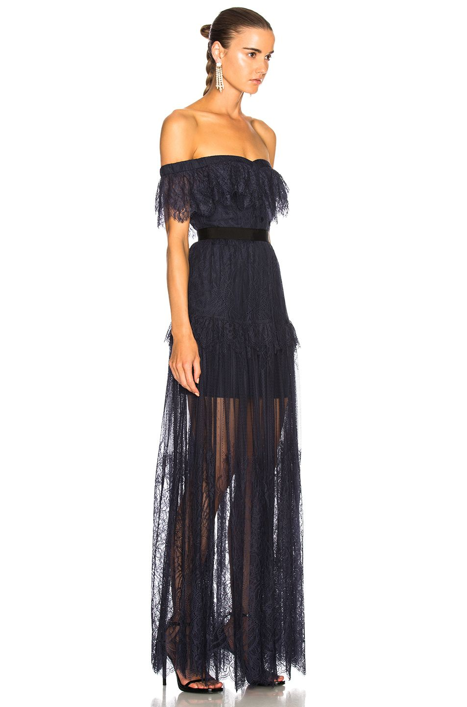 b99a6dde8fc3 self-portrait Off Shoulder Fine Lace Maxi Dress in Navy