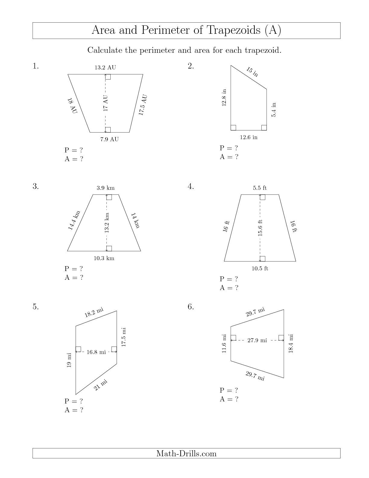 worksheet Kite And Trapezoid Properties Worksheet the calculating perimeter and area of trapezoids larger numbers a math