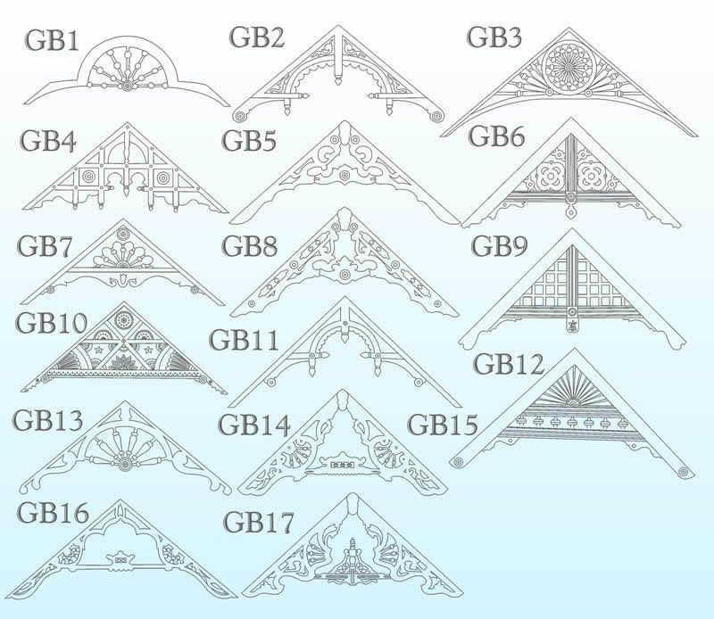 Sample gable decoration patterns by blue ox millworks in for Victorian gable decorations