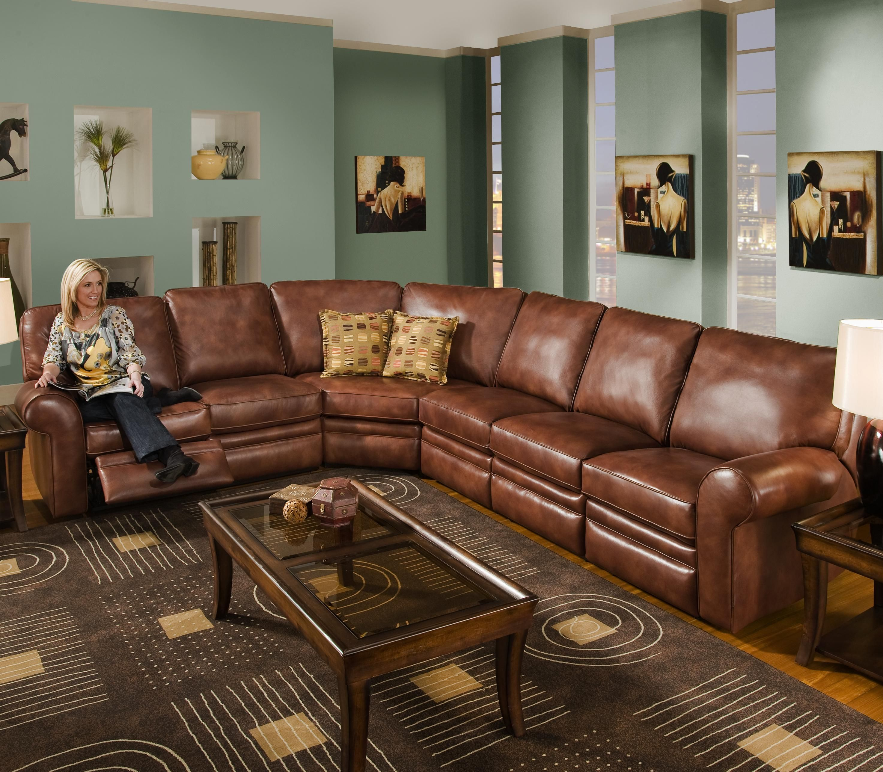Reclining sectional seats 6 leather wolf furniture for for Sectional sofas wolf furniture