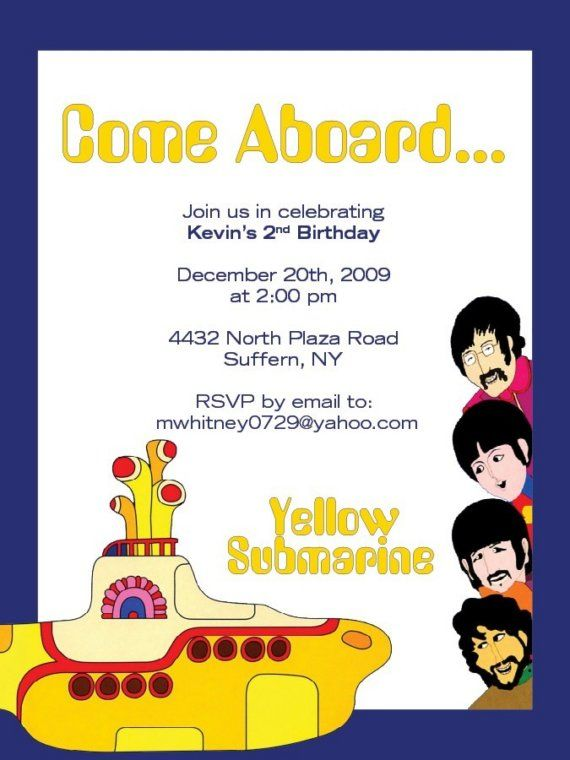 Happy Birthday Invitation Beatles Style Parties Yellow Submarine