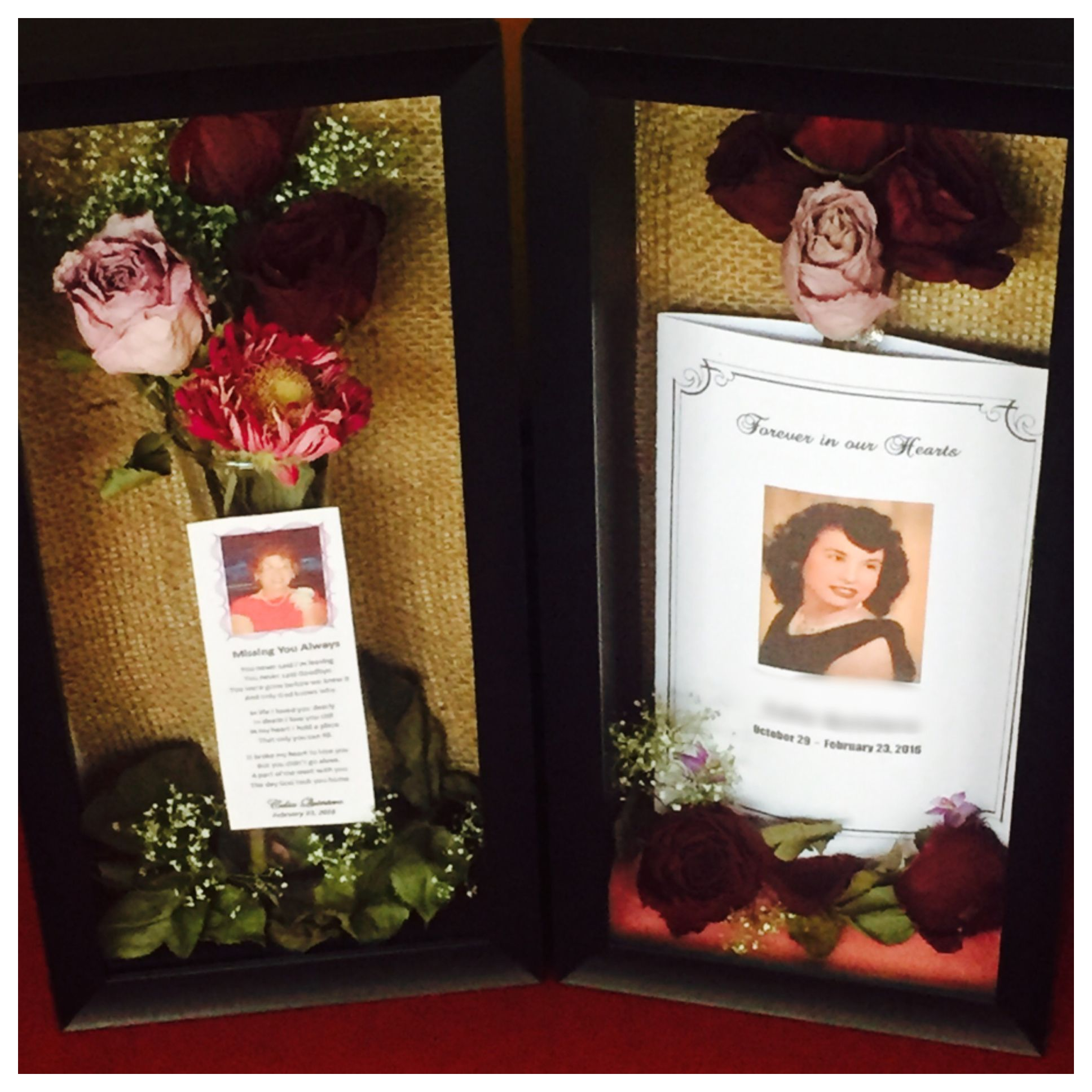 Using Flowers From Grandmas Funeral Made These Shadow Boxes Flower Shadow Box Shadow Box Memory Diy Shadow Box