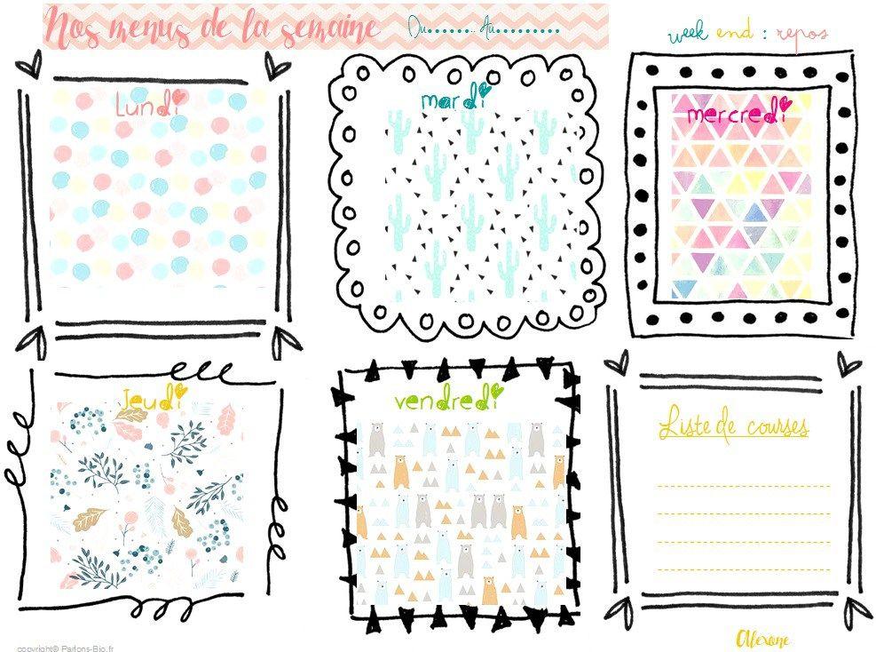 DIY: Planning menus semaine | Planning menu semaine, Menu semaine et Menu semaine famille