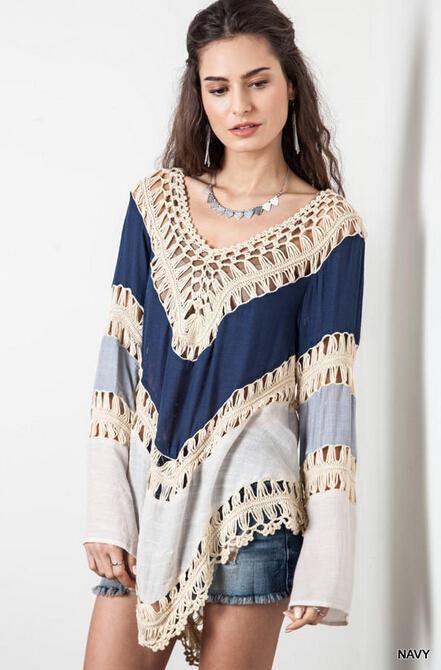 a5d021c539 2015 Woman Sexy Summer Beach dress Deep V Neck Crochet Dress Long Sleeve  Hollow Out Swimwear Bikini Cover Up Lace Crochet V-Neck Shirt