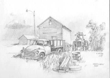 +real sketched drawings | Old Truck on Harry and Kay's Farm