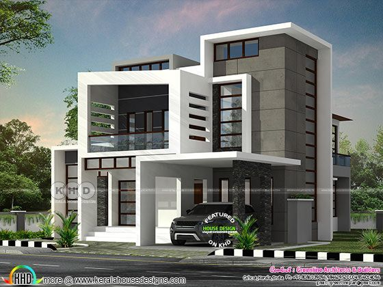 Beautiful Box Model Contemporary Residence With 4 Bedroom Kerala