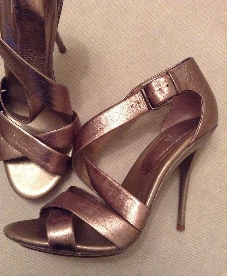 Heel Faith Leather Sandals Shoes Gold Metallic Bronze Strappy High 7b6gYfyv