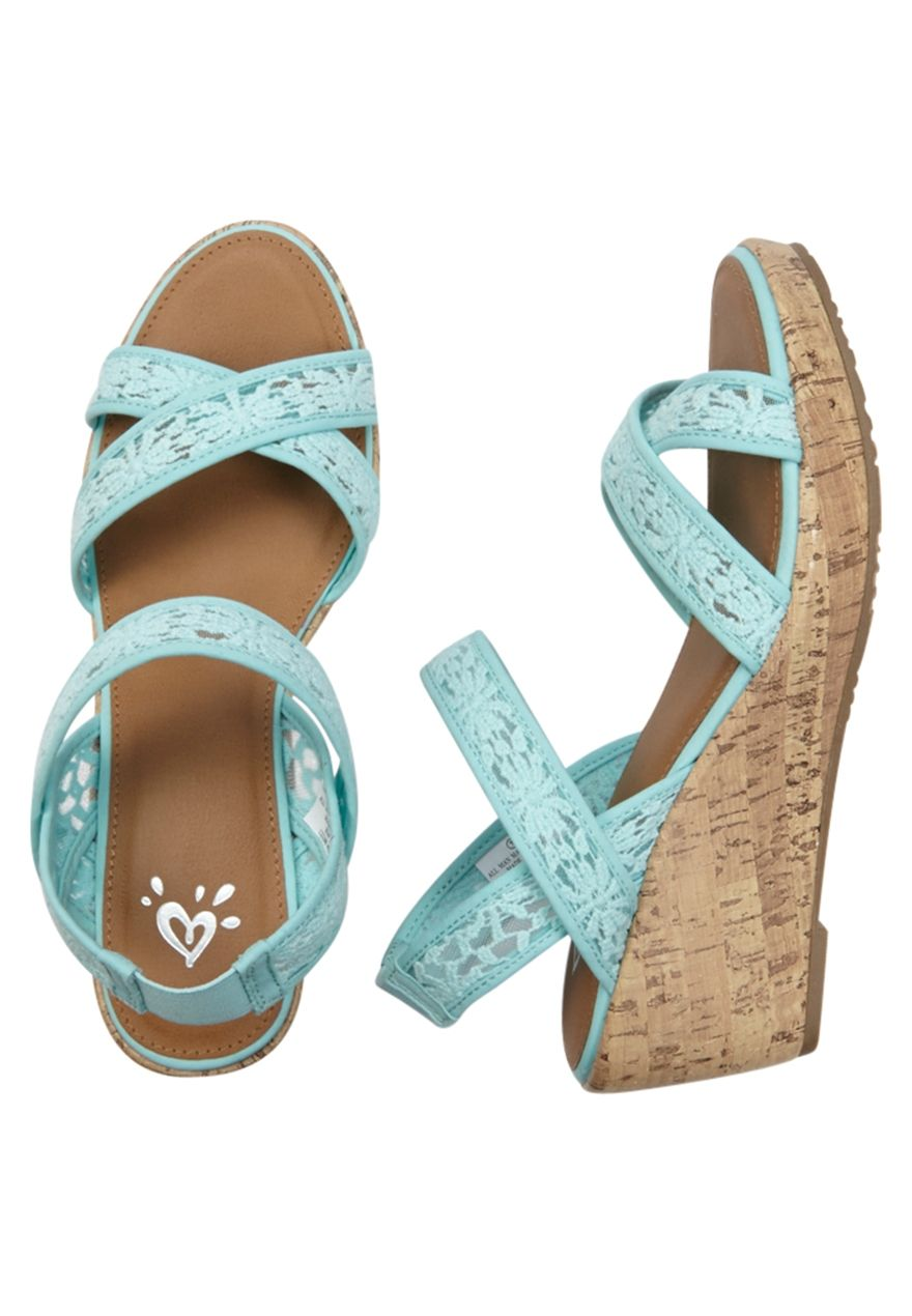34f432b89e84 Lace Cork Wedge Sandal (original price