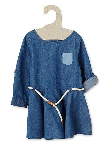 Robe en jean + ceinture                                                                                          denim stone Petite fille