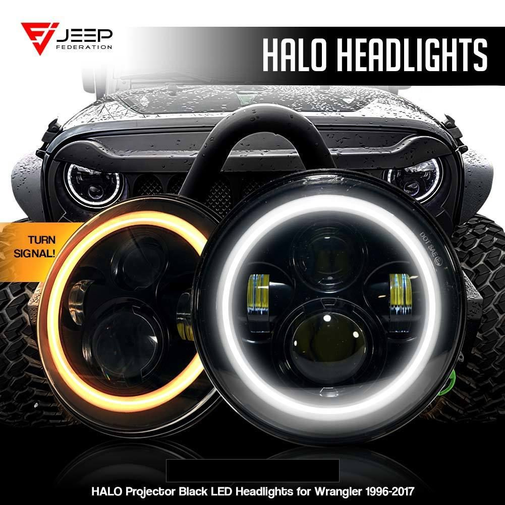 Halo Projector Black Led Headlights For Wrangler 1996 2018 Led