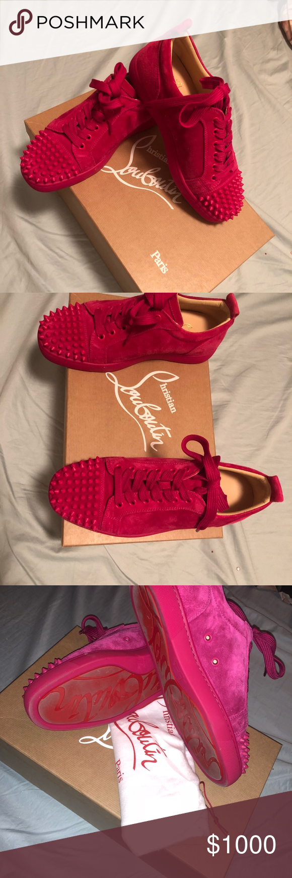 3174ab02790 Pink Christian Louboutin spike sneakers Identifiably Christian ...