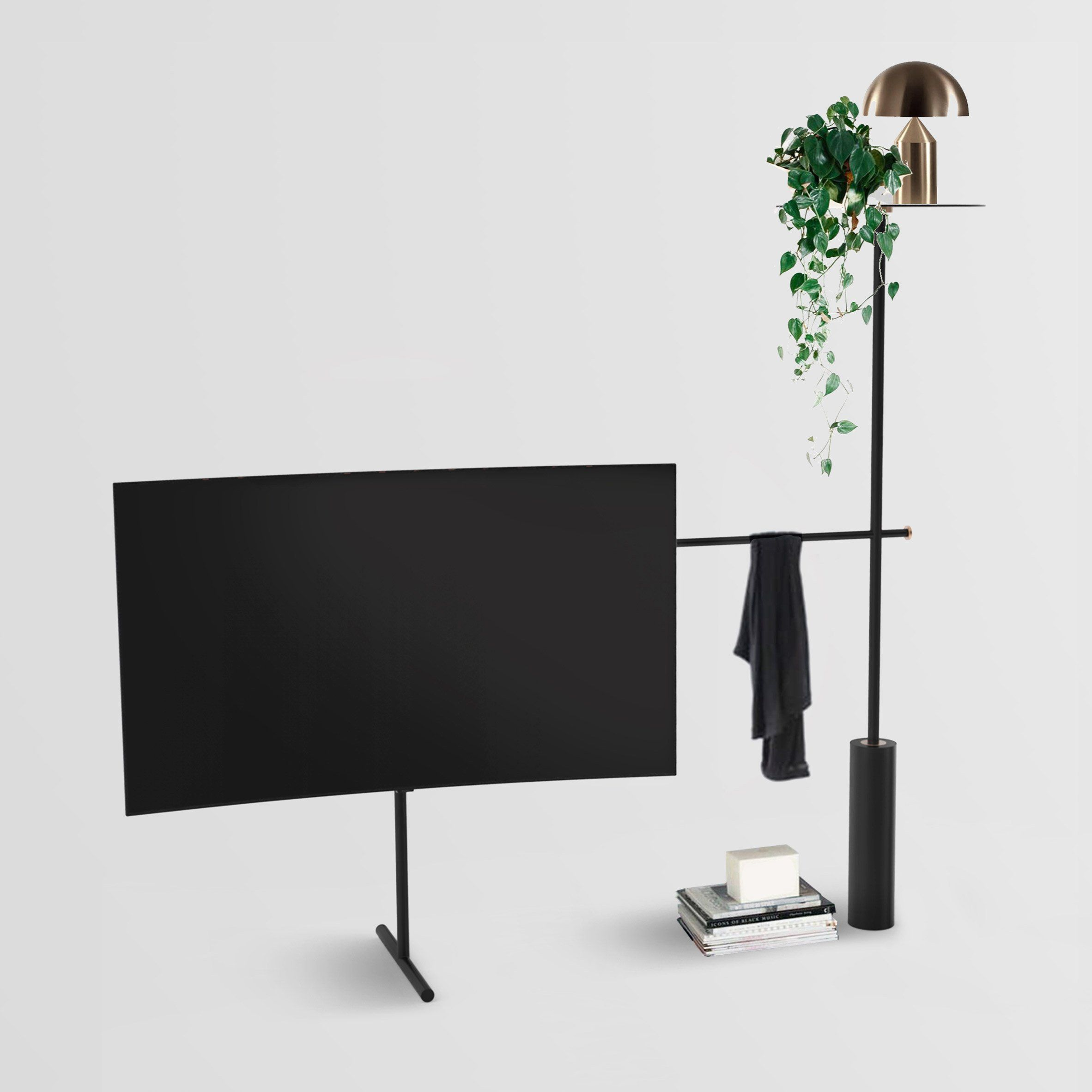 A Tv Stand That Doubles As A Plant Pot Is Among The Designs Shortlisted In Dezeen And Samsung S Qled Tv Stand Design Tv Stand Designs Stand Design Diy Tv Stand