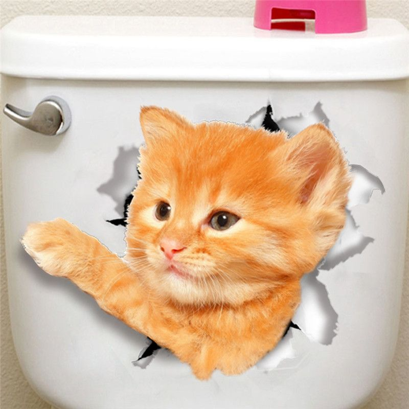 D Vivid Hole Cats Dogs Toilet Wall Sticker Refrigerator Computer Bathroom Cupboard Wall Decor Wall Decals