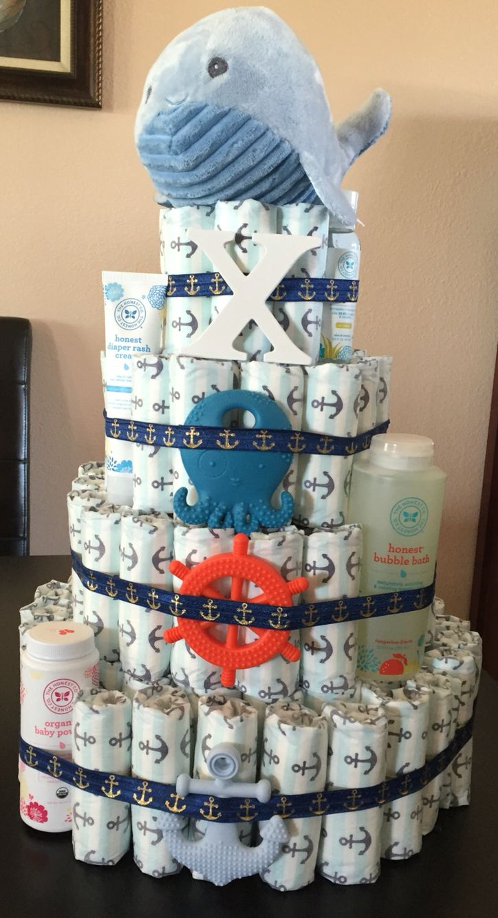 4 Tier Diaper Cake Honest Brand Ocean Boy Baby Shower I