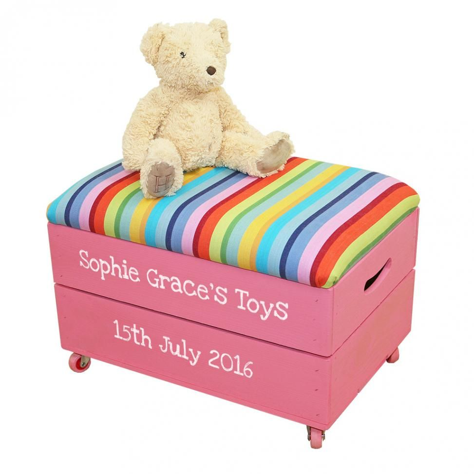 Kids Toy Box Crate with Padded Lid