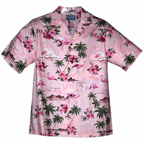 Pink Flamingo Hibiscus Hawaiian Mens Shirt Flamingo Fashion Mens Hawaiian Shirts Aloha Shirt